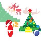 Santa Claus que pone los regalos debajo del árbol de navidad Fotos de archivo