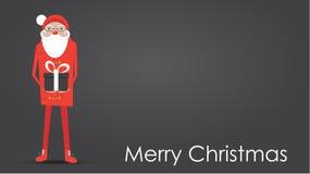Santa Claus que sostiene un regalo envuelto de la Navidad stock de ilustración