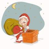 Santa Claus que vai abaixo da chaminé ilustração stock