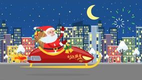 Santa Claus que vuela sobre la ciudad de la noche ilustración del vector