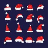 Santa Claus röd hattkontur vektor illustrationer