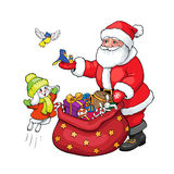 Santa Claus, rabbit and birds with Christmas gifts. Royalty Free Stock Image