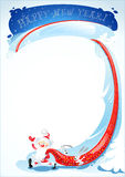 Santa Claus and rabbits. New Years greetings with a picture of Santa Claus and rabbits (the symbol of the Chinese New in 2011), who dragged a huge bag of gifts stock illustration