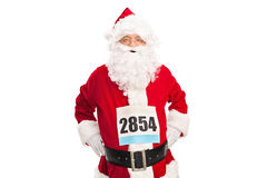 Santa Claus with a race number on his chest Stock Photos