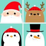 Santa Claus Raindeer Deer Snowman Penguin-Vogelgesichtshauptikonensatz Frohe Weihnachten Neues Jahr Nette Karikatur lustiges kawa lizenzfreie abbildung