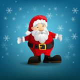 Santa Claus with a raised hand isolated on light blue background. Cartoon character. vector and illustration Stock Photo