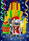 Santa Claus Rat. Rat in Santa Claus suit holding glass of champagne Royalty Free Stock Photos