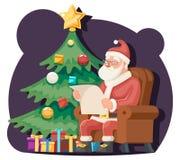 Santa Claus Read Gift List Sit-Lehnsessel-Charakter-Ikonen-Weihnachtsbaum-Hintergrund-Karikatur-Gruß-Karten-Schablonen-Plakat Stockfotos