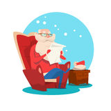 Santa Claus Read Merry Christmas Wish List New Year Celebration Stock Images