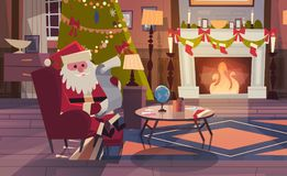 Santa Claus Read Wish List Sitting Near Fireplace In Living Room Decorated For Christmas And New Year Winter Holidays. Concept Flat Vector Illustration Royalty Free Stock Images