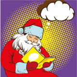 Santa claus reading fairy tales book. Vector illustration in comic pop art style. Christmas concept poster Royalty Free Stock Image