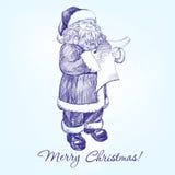 Santa Claus reading a letter hand drawn vector Royalty Free Stock Photos
