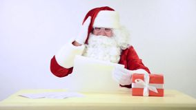 Santa Claus reading a letter stock footage
