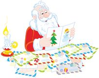 Santa Claus reading letters Royalty Free Stock Photography