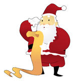 Santa Claus Reading Through List Immagine Stock