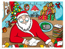 Santa Claus reading messages Stock Photos