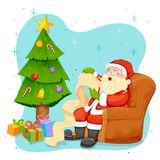 Santa Claus reading wish list for Christmas Stock Photo
