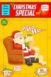 Santa Claus reading wish list for Christmas Stock Photo