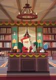 Santa Claus Reading Wish List Sitting am Schreibtisch im Weihnachts-und Neujahrsfeiertag-Büro Lizenzfreie Stockfotografie
