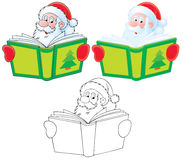 Santa Claus reads a book. High-resolution clip-arts (black-and-white and color): Santa Claus reading the green book Royalty Free Stock Photography