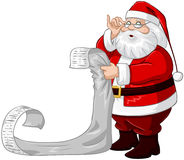 Santa Claus Reads From Christmas List. A  illustration of Santa Claus holding and reading from his Christmas list of good and bad children Royalty Free Stock Photography