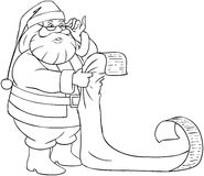 Santa Claus Reads From Christmas List Coloring Pag. A vector illustration of Santa Claus holding and reading from his Christmas list of good and bad children Stock Image