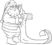 Santa Claus Reads From Christmas List die Pag kleuren Stock Afbeelding
