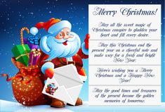 Santa Claus reads a letter. Of congratulation. In his hands he holds a festive envelope. Next to Santa Claus bag with gifts, sweets and surprises. Happy New Royalty Free Stock Image