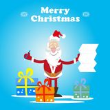 Santa gifts list. Santa Claus reads a long list of gifts. vector illustration Royalty Free Stock Photos