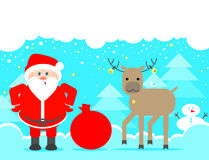 Santa Claus recherchant Fond de Noël avec le renne et le S illustration de vecteur