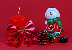 Santa Claus on a red background. Stock Photo