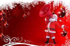 Santa claus with red background and loudspeaker Stock Photography