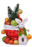 Santa Claus red bag with Christmas toys and rabbit Royalty Free Stock Photos