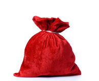 Santa Claus red bag full, on white background. Royalty Free Stock Photos