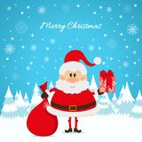 Santa Claus with a red bag and gifts Royalty Free Stock Images