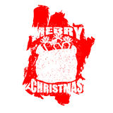 Santa Claus red bag in grunge style. Spray and scratches. Noise Stock Photos