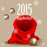 Santa Claus red bag. 2015 Happy New Year. Red bag Royalty Free Stock Image