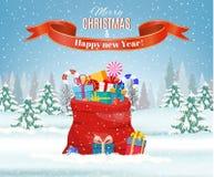 Santa Claus red bag, royalty free illustration