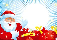 Santa Claus and red bags. Vector illustration of Santa Claus, red bags with christmas gifts, many stars on background with copy space for your text Stock Images