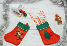 Santa Claus red boots, shoes with colored sweet candy, Stock Image
