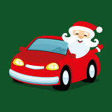 Santa Claus in red car. Santa Claus in red car on a green background Royalty Free Stock Photography