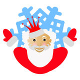 Santa Claus in a red crown in the form of  snowflake an icon. to part hands in the parties. on  white background. for the press, u. Santa Claus in a red crown in Stock Image