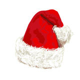 Santa Claus red hat. On white background. Vector Stock Image