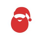 Santa claus red hat beard flat icon design Stock Photography