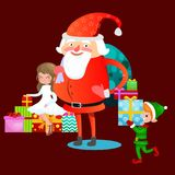 Santa claus in red hat with beard sits on chair with hare in hand which makes wish, elf and magic fairy with golden Stock Images