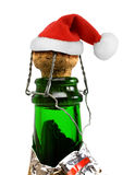 Santa Claus red hat in Champagne Bottle Royalty Free Stock Photography