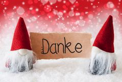Santa Claus, Red Hat, Danke Means Thank You, Red Background
