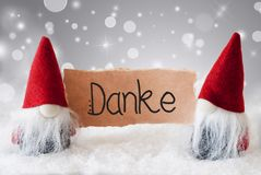 Santa Claus, Red Hat, Danke Means Thank You, Gray Background