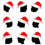 Santa claus red hat with face Stock Photography
