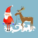 Santa claus in red hat and jacket, with beard holding halper reindeer, marry of christmas and happy new year vector. Illustration Stock Image